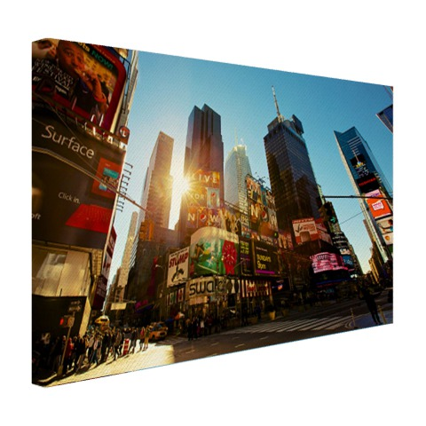 Foto zonsopgang Manhattan op canvas geprint