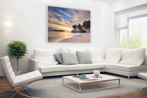 Cathedral Cove Nieuw-Zeeland fotoprint Hout