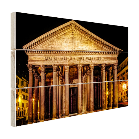 Pantheon Rome in de nacht Hout