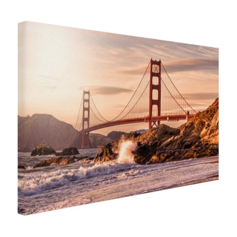 Golden Gate Bridge met Golven op canvas