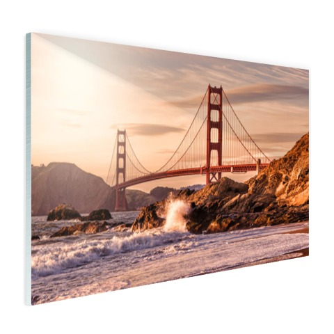 Golden Gate Bridge met Golven op glas