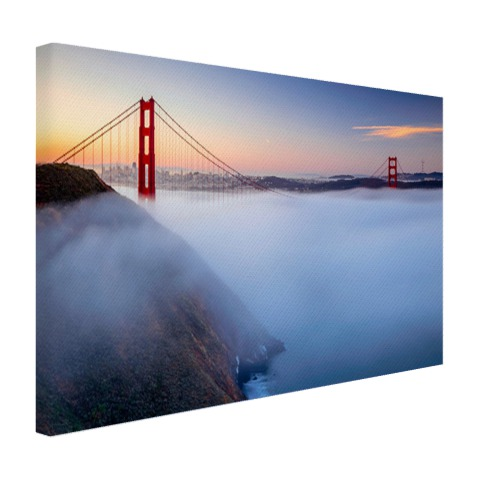 Golden Gate Bridge in de mist op canvas