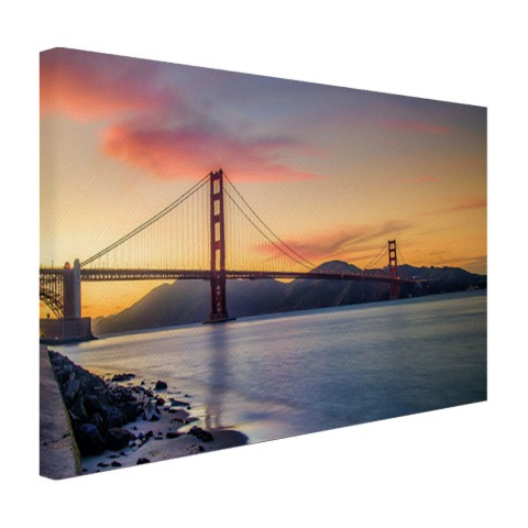 Golden Gate Bridge bij zonsondergang op canvas