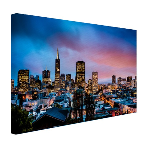 San Francisco skyline bij nacht op canvas