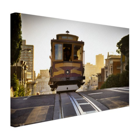 Tram in San Francisco op canvas