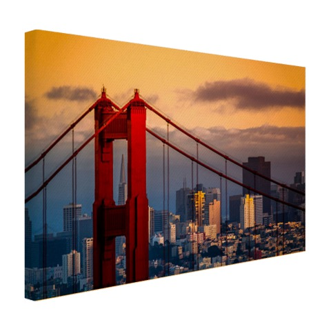 Zonsondergang bij Golden Gate Bridge op canvas