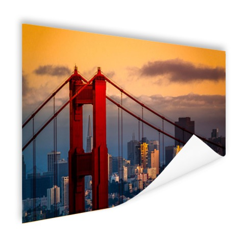 Zonsondergang bij Golden Gate Bridge fotoposter