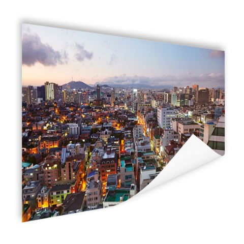 Luchtfoto Gangnam district Seoul foto print