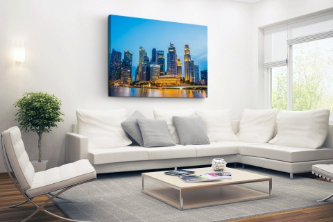Singapore skyline in de avond Canvas