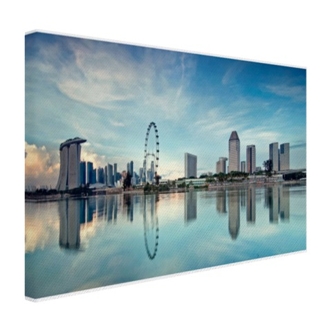 Reflectie in het water in Singapore op canvas