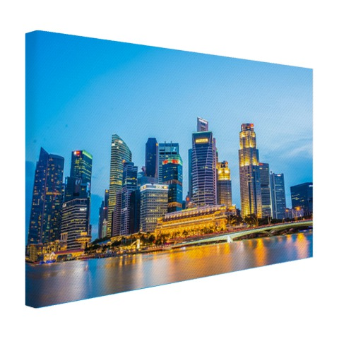 Singapore skyline in de avond op canvas
