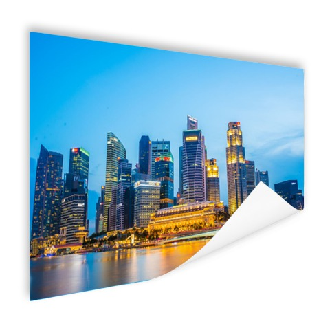 Singapore skyline in de avond poster