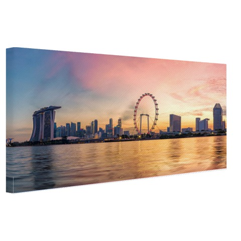 Singapore skyline zonsondergang op canvas
