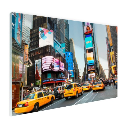 Times Square gele taxis foto afdruk Glas