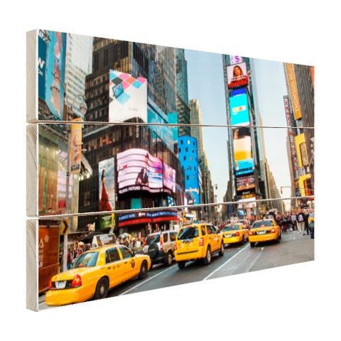 Times Square gele taxis foto afdruk Hout