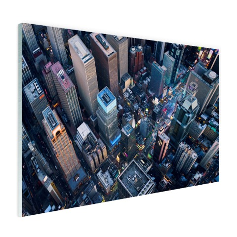 Times Square van boven Glas