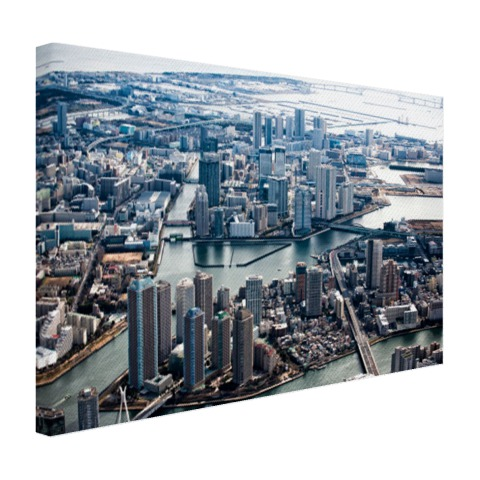 Tokio Gate Bridge met wolkenkrabbers op canvas