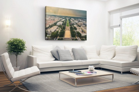 National Mall en Capitool luchtfoto Canvas