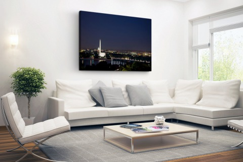 Skyline Washington DC bij nacht Canvas