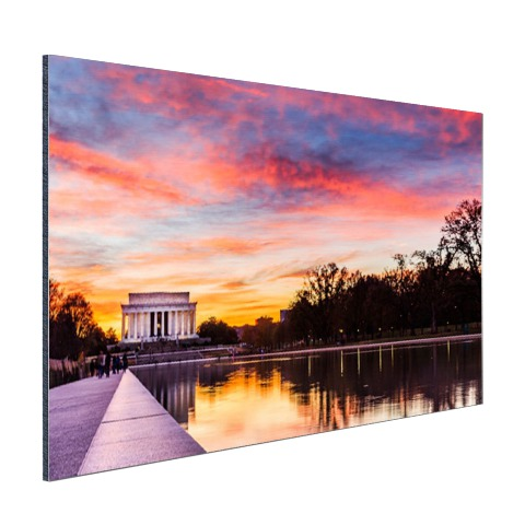Lincoln memorial zonsondergan op aluminium