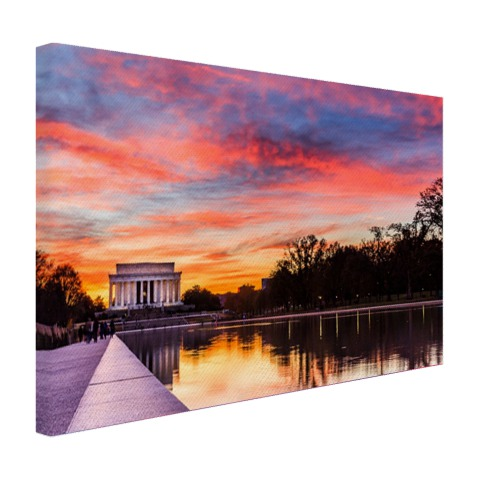 Lincoln memorial zonsondergang op canvas