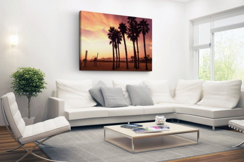 Santa Monica Beach zonsondergang Canvas