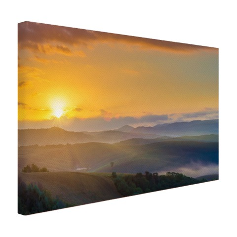 Foto zonsopkomst in Toscane op canvas geprint