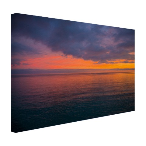 Foto zonsopkomst over de Middellandse Zee op canvas geprint