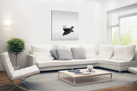 Boot in kalm water zwart-wit print Canvas