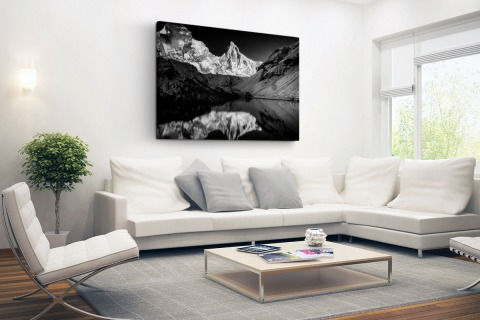 Kedartal fotoprint zwart-wit Canvas