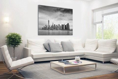 Manhattan New York in zwart-wit Aluminium